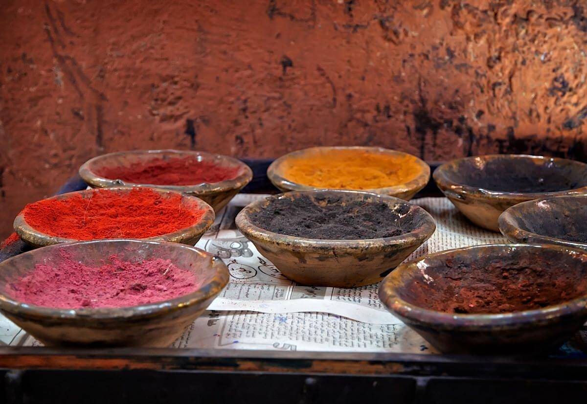 Bowls filled with a colourful dye powder