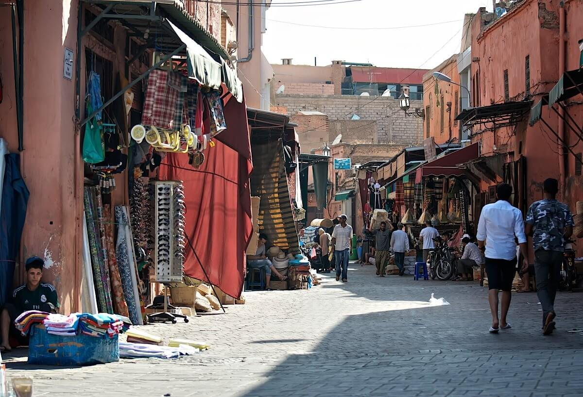 Busy street in an old part of Marrakech
