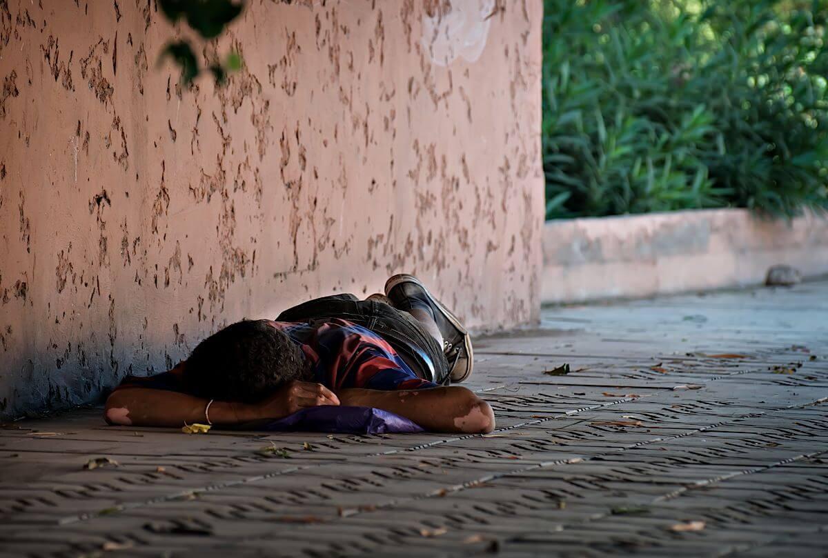 Man sleeping on the ground