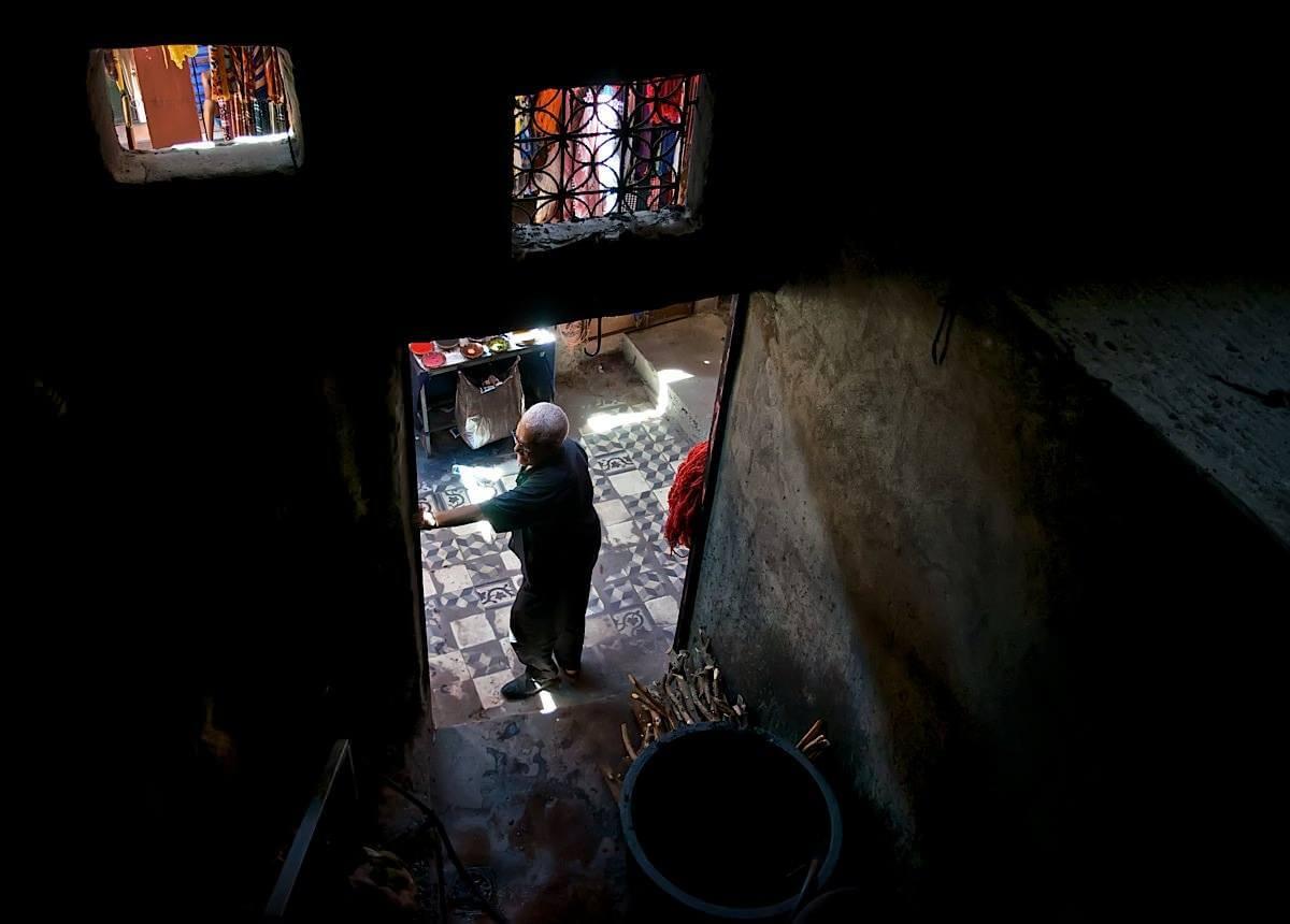 Textile dyer in his workshop; Marrakech