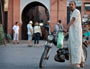 Portrait of a man dressed in djellaba with a moped; Marrakech, Morocco - Photo by Zdenek Sindelar ~ CuriousZed Photography