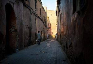 Narrow street in Medina; Marrakech