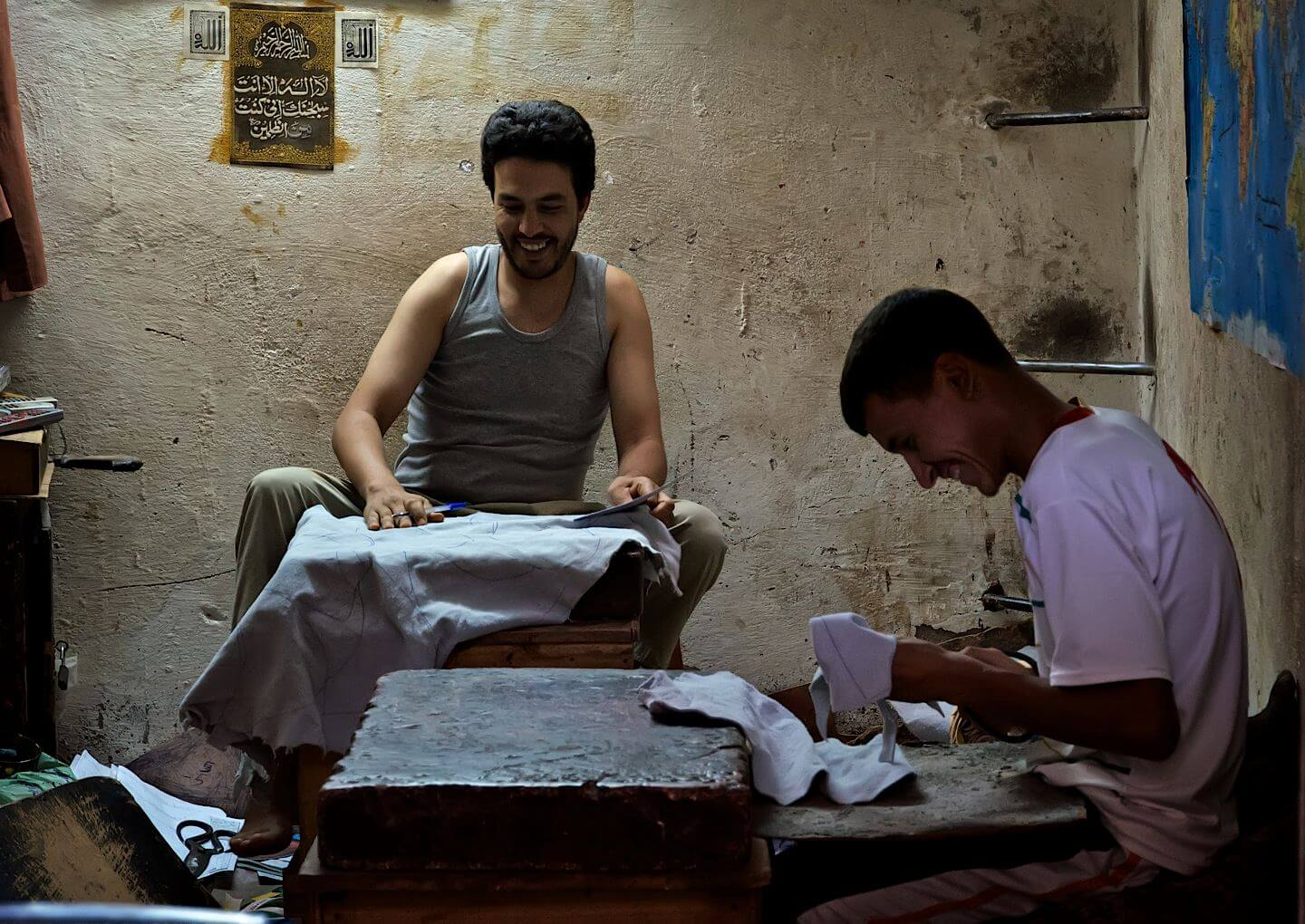 Workers in a leather workshop
