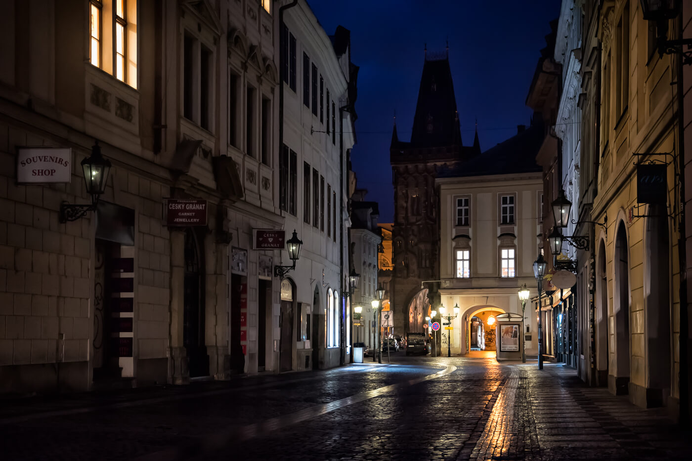 Street at night, Prague - Photograph by Zed Sindelar / CuriousZed